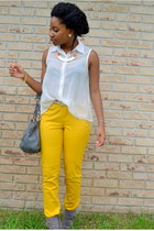 yellow kohls pants - heather gray kohls bag - white TJ Maxx top