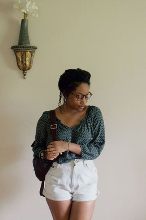 army green moms shirt - white Goodwill shorts