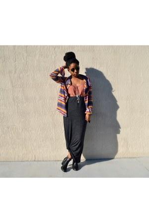 salmon cotton on dress - purple Rule of Threee sweater - dark gray PacSun skirt