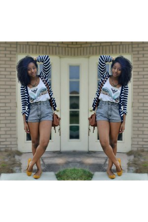 navy PERSUNMALL cardigan - heather gray thrifted shorts - white Forever 21 top