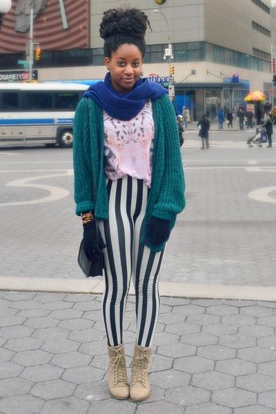 camel Rue 21 boots - black striped Ebay leggings - navy gift scarf