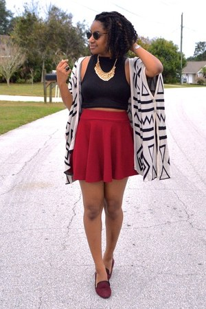 ivory aztec OASAP cardigan - black Boohoo shirt - brick red OASAP skirt
