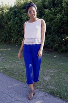 blue cato pants - white shein top - tan cato heels