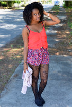 black kohls tights - red Forever 21 shorts - light pink Charlotte Ruse cardigan