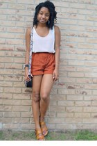 light purple kohls bag - ruby red Goodwill shorts - tawny My Hot Shoes sandals