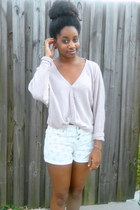 gold ring - ivory TJ Maxx shorts - light pink Charlotte Russe cardigan