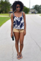 navy Old Navy top - green Goodwill bag - mustard Forever 21 shorts