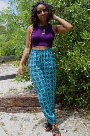purple Boohoo top - turquoise blue cato pants - black kohls sandals