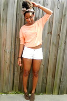 white hollister shorts - brown makemechic boots - light orange Ross top