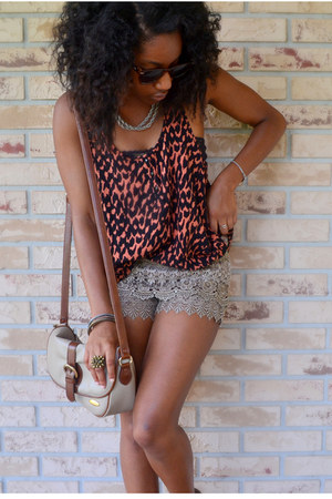 camel TJ Maxx shorts - beige Goodwill bag - red H&amp;M top - silver kohls necklace