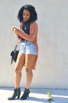 black kohls boots - black cotton on bag - sky blue Goodwill shorts