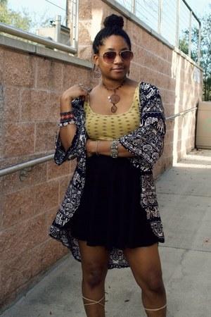 mustard Target shirt - black OASAP skirt - navy Amazon cardigan