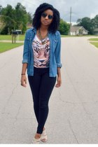 white Ross top - black gift leggings - navy Walmart shirt - cream Ross heels