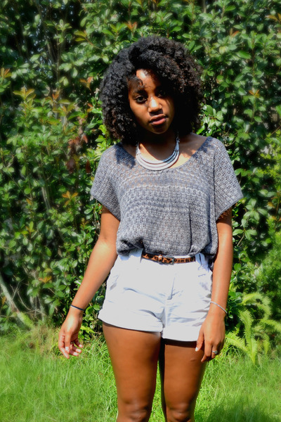 charcoal gray thrifted top - white Goodwill shorts - brown leopard Bealls belt