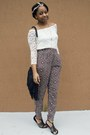 Black-catos-bag-purple-forever-21-pants-gold-irresistible-me-hair-accessory