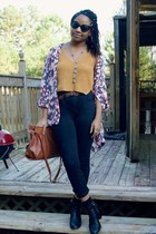 black kohls boots - black Goodwill jeans - mustard Amazon shirt - tawny cato bag
