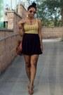 Mustard-target-shirt-black-oasap-skirt-navy-amazon-cardigan