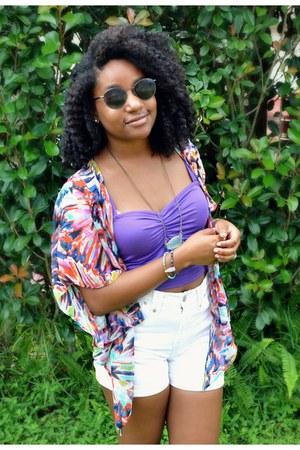sky blue Awkward Heart bracelet - white Goodwill shorts - purple Boohoo top