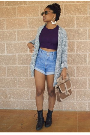 heather gray OASAP cardigan - sky blue Goodwill shorts - deep purple Boohoo top