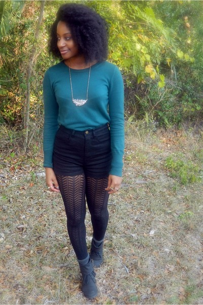 gold leaf Forever 21 necklace - black Forever 21 shorts - teal Goodwill top