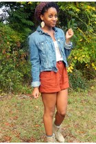 ruby red Goodwill shorts - magenta Forever 21 hat - blue American Eagle jacket