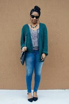 black cato bag - navy Get The Label jeans - teal Goodwill cardigan