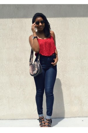 ruby red OASAP top - navy Wet Seal jeans - black kohls sandals