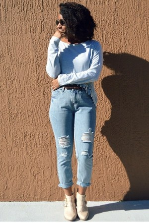 light blue denim OASAP jeans - cream Forever 21 boots