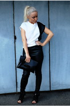 white Celine top - black Alexander Wang boots - black Givenchy bag