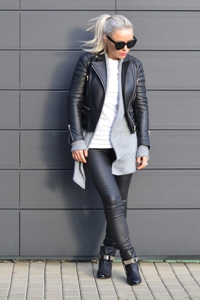 black Giuseppe Zanotti boots - black Celine jacket - heather gray H&M sweater