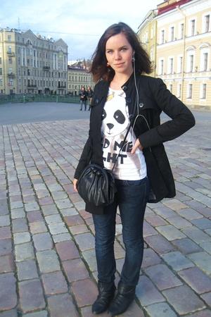 Zara coat - Zara jeans - Zara boots - Bershka t-shirt - H&M purse
