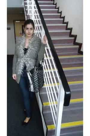 black Axel bag - blue leggings - light brown swan fur cardigan - black H&M flats