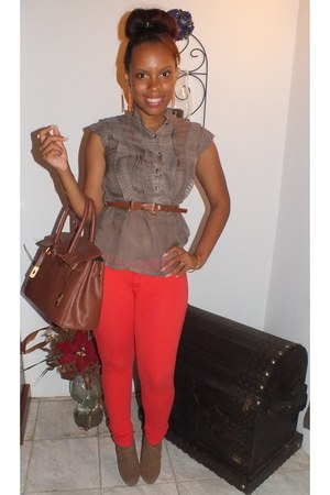 brown bag - coral stretchy pants - brown suede heels - dark brown sheer blouse
