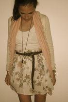 pink Zara skirt - beige BLANCO jacket - pink Primark scarf - beige Bershka shirt