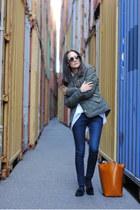 army green Primark jacket - black Zara shoes - navy Zara jeans