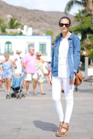 white Zara jeans - navy Primark shirt - burnt orange DAY A DAY bag