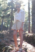 off white Primark blouse - camel Zara skirt - cream Primark sandals