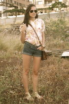 yellow Zara blouse - blue Primark shorts