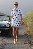 yellow Zara wedges - white vintage shirt - camel H&M skirt