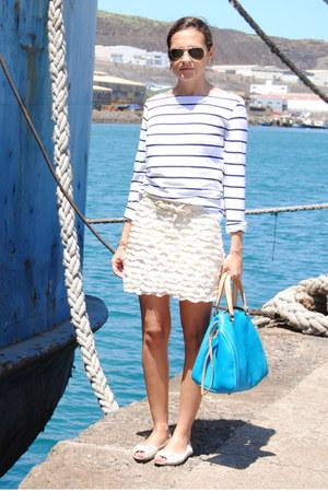 Topshop shoes - Carolina Herrera bag - pull&bear skirt - H&M t-shirt