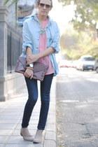 shirt shirt - shirt shirt - boots boots - Jeans jeans - clutch bag