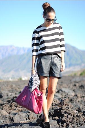 black Zara shoes - black H&M blazer - hot pink Purificacion Garcia bag