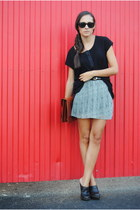 Zara t-shirt - pull&bear shoes - vintage bag - Zara skirt