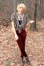 Ruby-red-velvet-nasty-gal-leggings-dark-brown-tie-dyed-street-market-scarf