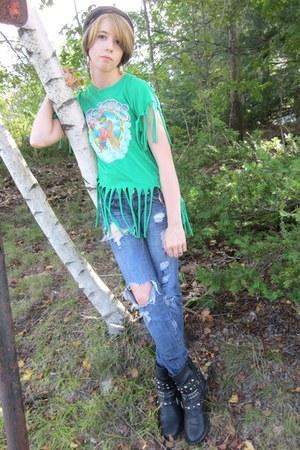 green vintage fringed gypsy warrior shirt - blue torn old jeans