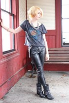 faux leather Forever21 pants - studded Etsy boots - highway 9 fox PacSun shirt