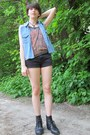 Black-faux-leather-etsy-vintage-boots-black-denim-cotton-diy-shorts-sky-blue