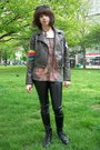 Charcoal-gray-faux-leather-xhilaration-jacket-black-wet-look-forever-21-leggin