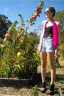 Pink-vitnage-jacket-black-asos-top-blue-levis-shorts-black-jeffrey-campbel
