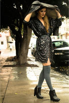 brown Sanctuary jacket - blue Mink Pink jacket - gray Nasty Gal socks - black sa